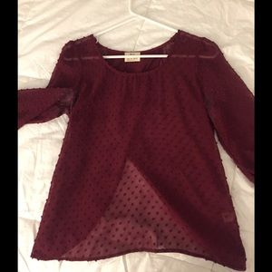 Semi-sheer burgundy top with drape open back